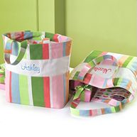 Personalized Striped Tote Bag with Dots for Bridesmaids